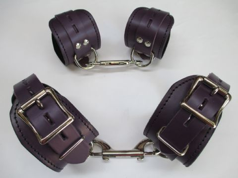 Midnight Purple Leather 4 Piece Locking Restraint Cuffs Set (For Wrist & Ankles)